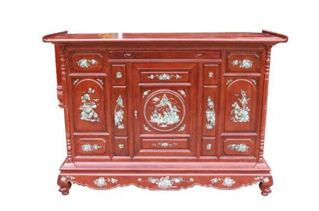 Tủ thờ 20 khảm gỗ Gụ sơn vécni
